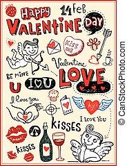 Valentine doodles - Valentine doodle set, Hand-drawn icons. ...