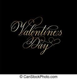 valentine, dorado, clásico, retro, día, diseño, romántico