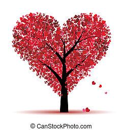 valentine, drzewo, miłość, liść, z, serca