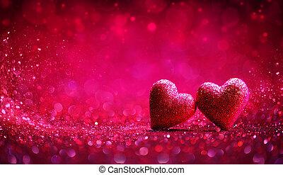 valentine, -, dwa, tło, serca, błyszczący, dzień, czerwony
