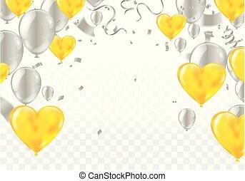 valentine dzień, realistyczny, powietrze, balony, w, przedimek określony przed rzeczownikami, kształt, od, heart., wektor, ilustracja, z, confetti, i, wężowaty