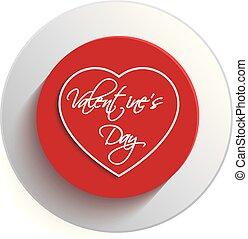 valentine, dzień, serce, guzik