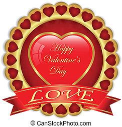 valentine, dzień, złoty, etykieta