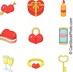 Valentine elements icons set, cartoon style