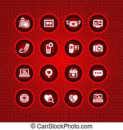 valentine, ensemble, jour, icônes