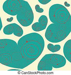 valentine, espiral, corações, padrão