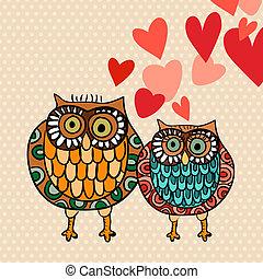 valentine, eule, paar, liebe