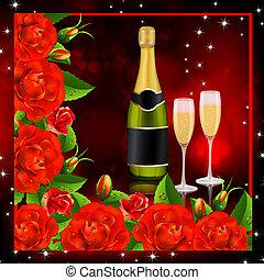 valentine, experiência., rosas vermelhas