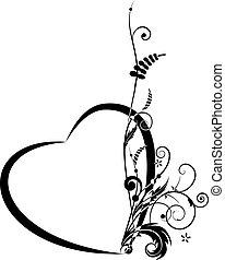 Valentine floral banner - Valentine vector banner with ...