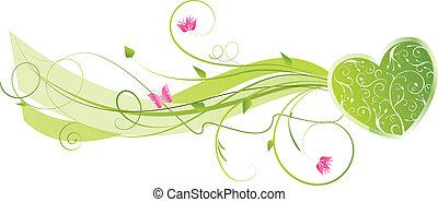 valentine, floral, onda, fundo