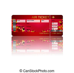 valentine fly ticket with shadow isolated over white ...