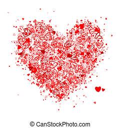 valentine, forma coração, para, seu, desenho