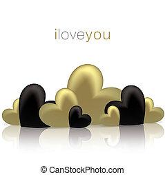 valentine, format., surface, vecteur, cœurs, brillant, jour, carte