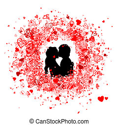 Valentine frame design with couple silhouette