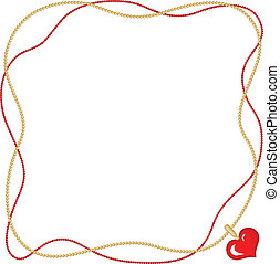 Valentine frame with heart pendant - Valentine day greeting...