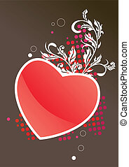 Valentine frame with red heart and stylized white plant