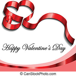 Valentine frame with ribbon heart