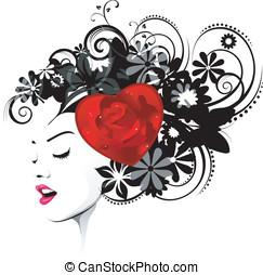 valentine, fryzura