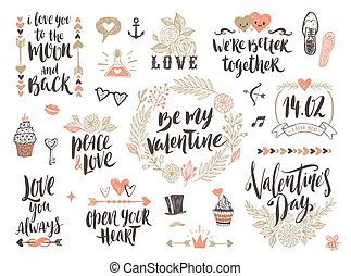 valentine, getrokken, set, dag, hand