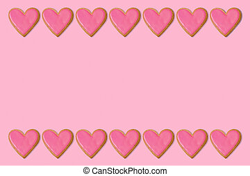 Valentine gift background. Pink heart cookie frame border. Copy space