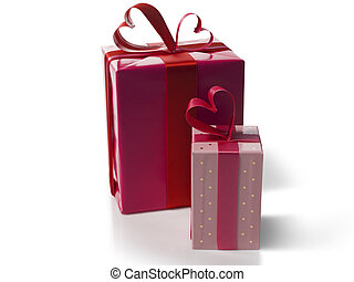 Valentine gift box with a heart ribbon on a white background