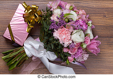 Valentine gift box with flowers