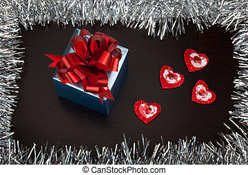Valentine gift box with small hearts