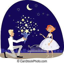 Valentine gift - Vector illustration of a guy gifting stars...