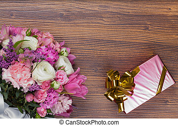 Valentine gift with flowers .