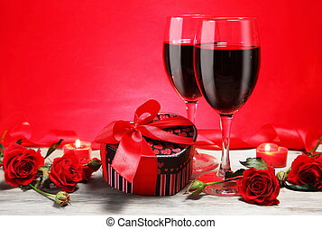 Valentine Gift with Wine and Candle
