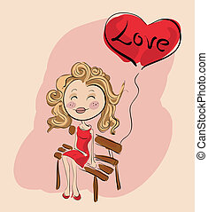 Valentine girl on a bench with love balloon
