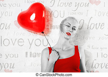 valentine girl with balloon in BW image