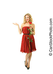 Valentine girl with rose - Beautiful girl in red dress...