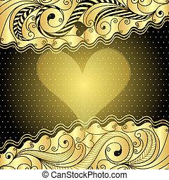 Valentine gold frame - Vintage golden valentine floral frame...