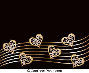 Valentine Gold hearts on black