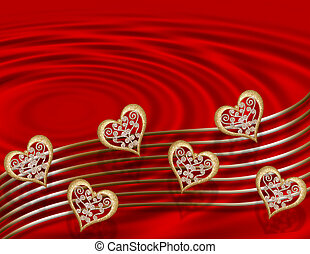 Valentine Gold hearts on red