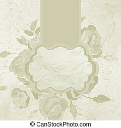 Valentine gold vintage frame with flowers. EPS 8
