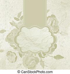 Valentine gold vintage frame with flowers. EPS 8