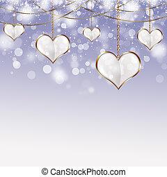 Valentine Golden Hearts - holiday valentine white background...