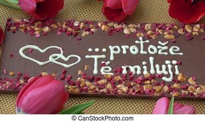 valentine, gourmet, tulipes, chocolats, jour, rouges