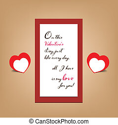 valentine greeting banner card.