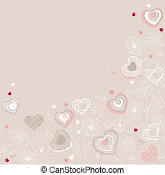 Valentine greeting card with different contour hearts