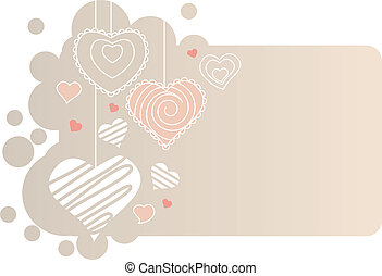 Valentine greeting card with different pink hearts