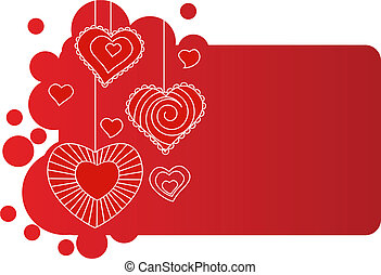 Valentine greeting card with different white hearts