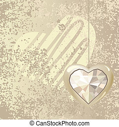 Valentine greeting card with hanging gold heart