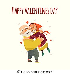Valentine greeting card with hugging elder couple