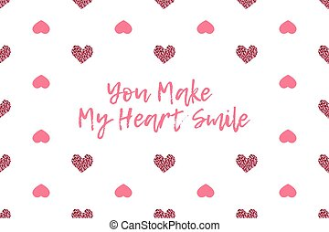 Valentine greeting card with text and pink hearts. ...