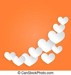 valentine, groet, day., papier, hearts., kaart