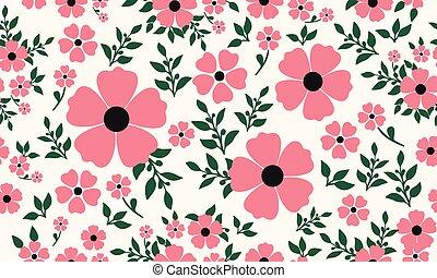 valentine., háttér, seamless, klasszikus, floral példa, tapéta
