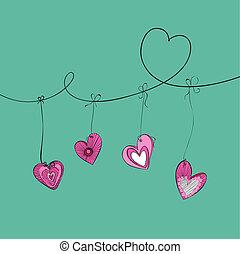 valentine, hängender , herzen